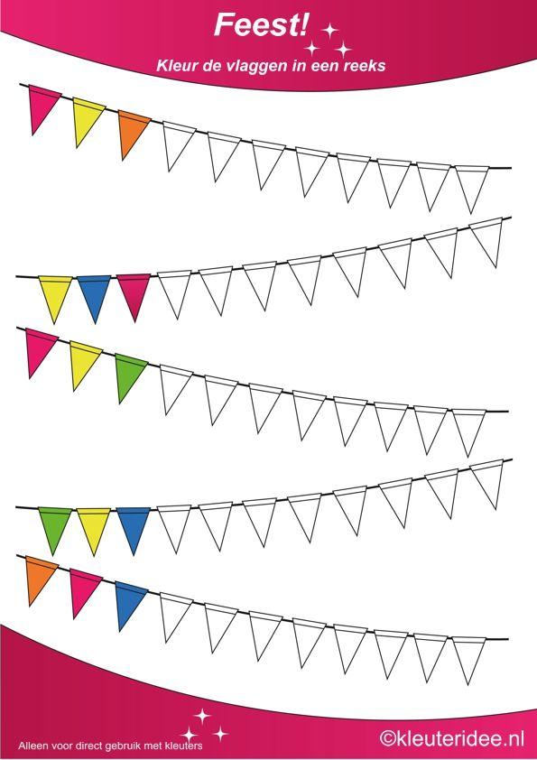 Kleur de vlaggen in een reeks, thema feest voor kleuters, juf Petra van kleuteridee, te gebruiken bij kinderboekenweek 2014, Color the flags, free printable.