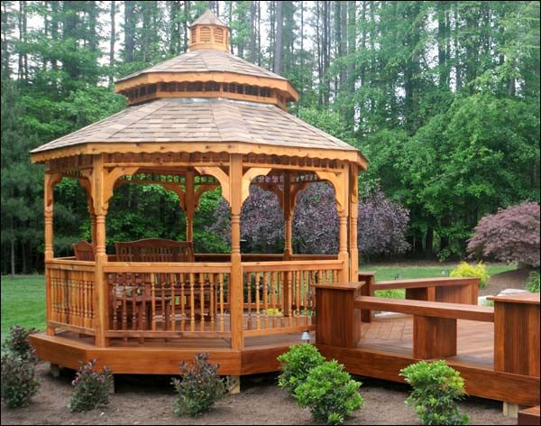 Red cedar double roof octagon gazebos outdoor living for Add a room mural gazebo
