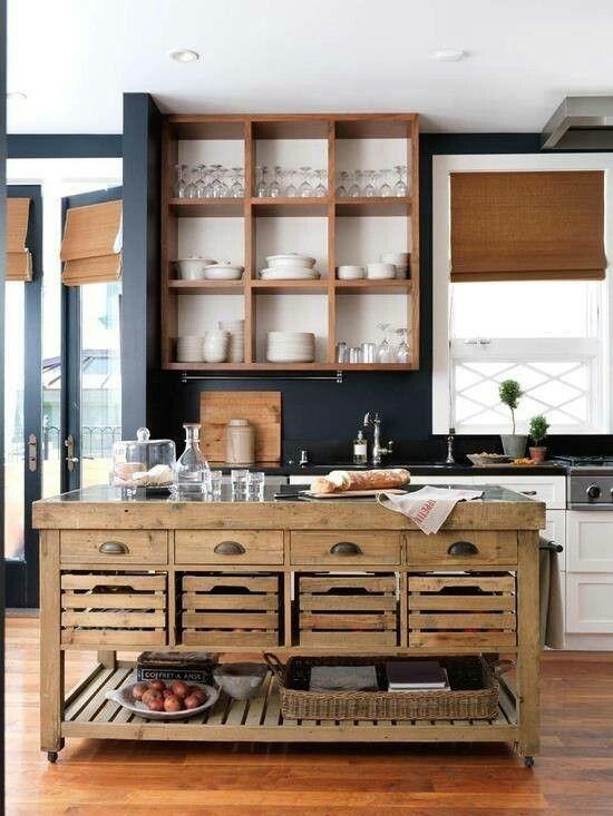 Me gusta la idea de una islita en madera y podemos poner madera de paleta en la pared encima de los gabinetes...o cajitas de esas de madera cool q parecen de guardar leche