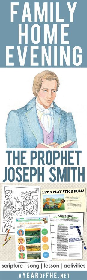 A Year of FHE // a free Family Home Evening lesson about the Prophet Joseph Smith and the First Vision. Includes a scripture, song, object lesson, lesson, and activites for small kids, older kids, teens, and a game for the entrei family! #lds #familyhomevening #josephsmith