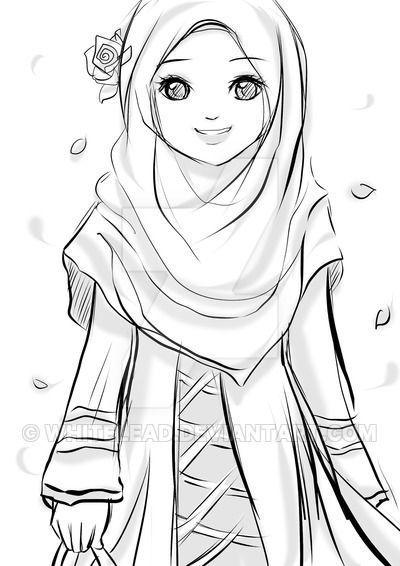 Kartun Muslimah Yang Ada Kata Katanya Hijab Cartoon Hijab Drawing Islamic Cartoon