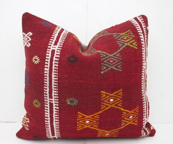 Kilim Pillow floor pillow 16X16 Red Kilim Pillow Ethnic Pillow Rustic Throw Pillow Sofa Pillow Tribal Rug Pillow Decorative Pillow for Couch