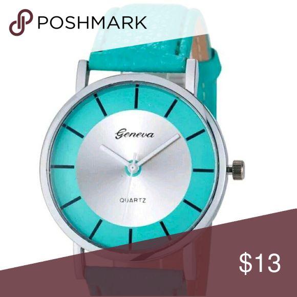 Aqua green and Silver Watch with Aqua band Aqua and Silver Watch with Aqua faux leather band. Very Stylish! quartz Accessories Watches