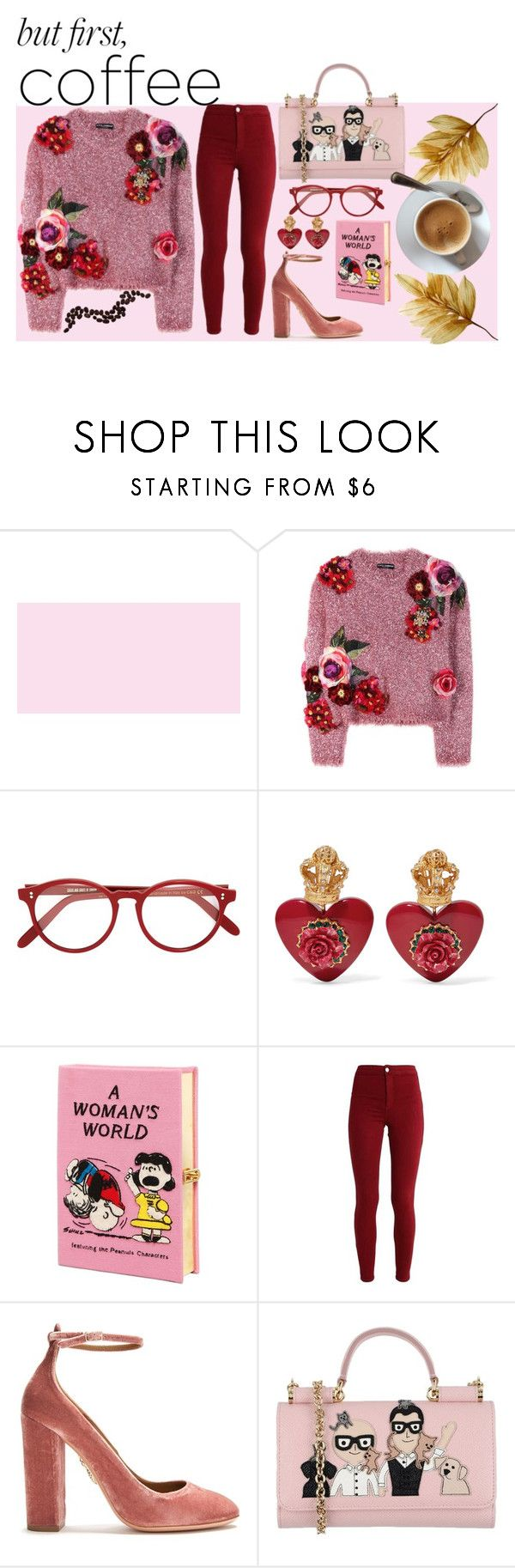 """""""But first, coffee! - Red & Pink Theme // Competition"""" by kyamhill on Polyvore featuring Dolce&Gabbana, Cutler and Gross, Olympia Le-Tan and Aquazzura"""