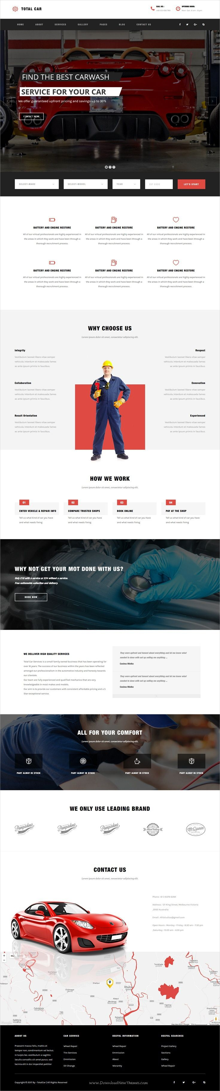 Total car is clean and modern design 2in1 responsive wordpress theme for auto mechanic