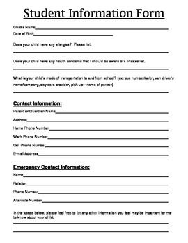 Information at your fingertips!I always start my school year out with this Student Information Form. Send these home the first week of school, ke...