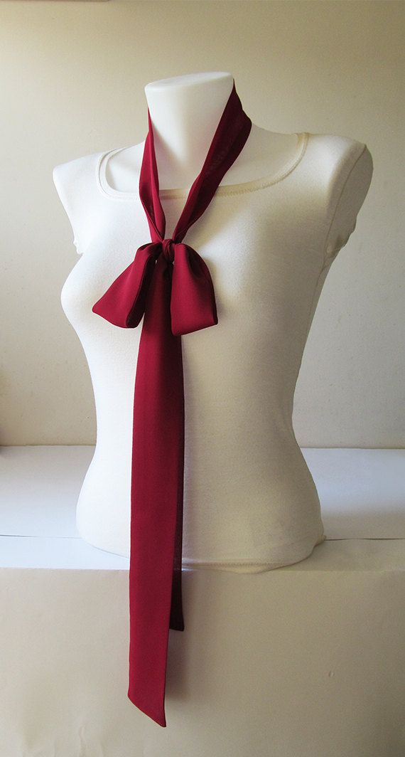 Burgundy Skinny Scarf Long Thin Scarf with by NaryasSewingCorner
