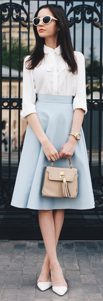 White And Blue Vintage Inspired Classic Outfit