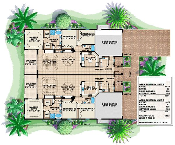 Florida Multi Family Plan 60703 Duplex Plans