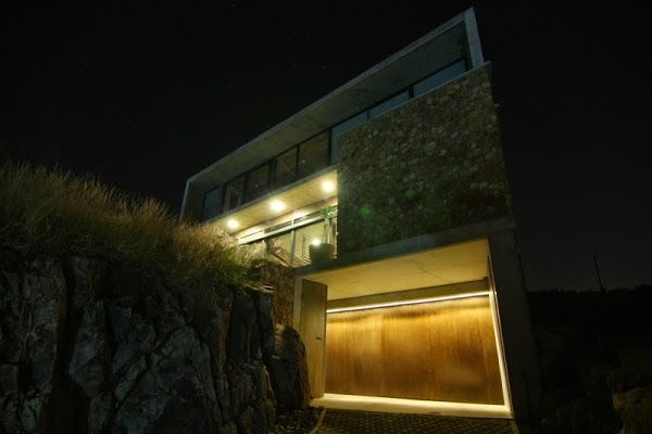 Illuminated house facade