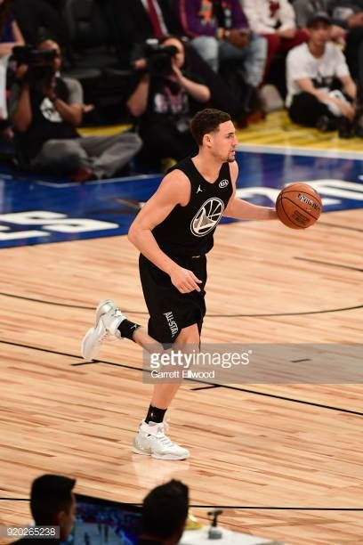 8366e491185f Klay Thompson of Team Stephen handles the ball against Team LeBron during  the NBA AllStar Game as a part of 2018 NBA AllStar Weekend at STAPLES.