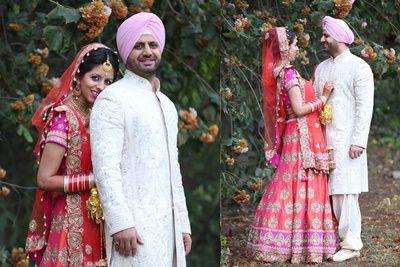 coral bridal lehenga, raw silk, smalal motif, bright pink and coral , sikh bride, morning wedding, color block, neon