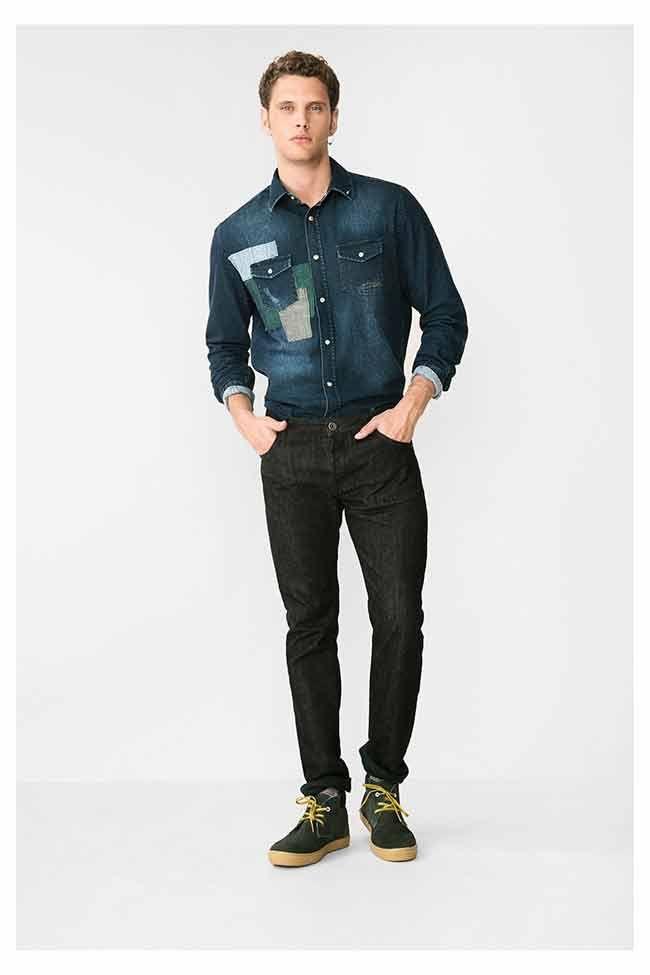 Herenmode, Desigual Jeans Yuela zwarte jeans met donkergroene stiksels.MEER http://www.pops-fashion.com/?p=30917