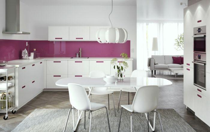 Awesome Küchenrückwand Glas Wohnideen Küche Ikea Weiß Lila