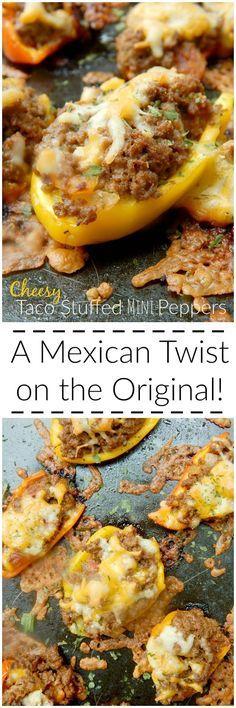 cheesy taco stuffed mini peppers (sweetandsavoryfood.com)