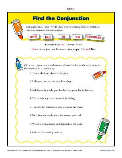 find the conjunction 4th grammar 1st grade worksheets worksheets grammar lessons. Black Bedroom Furniture Sets. Home Design Ideas