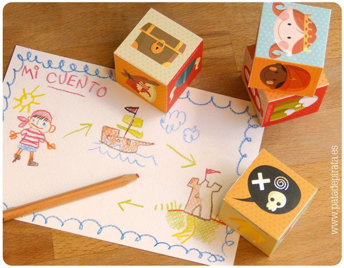¿Ya tenéis los CUBOS CUENTACUENTOS de Pata de Pirata? #free #descargable #juegodeverano ¡Mirad qué divertido es! Podéis combinar los cuatro modelos que os regalamos o crear nuevos diseños. Los grumetillos pueden inventar sus propios cuentos, jugar e imaginar locas y geniales historias.