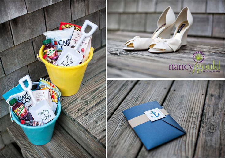 Welcome bags in sand bucket- LOVE IT: Small Weddings