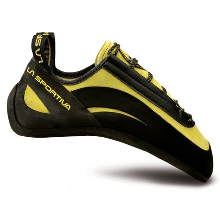 LaSportiva Miura lace ups.  So far my favorite pair of shoes for sport climbing.