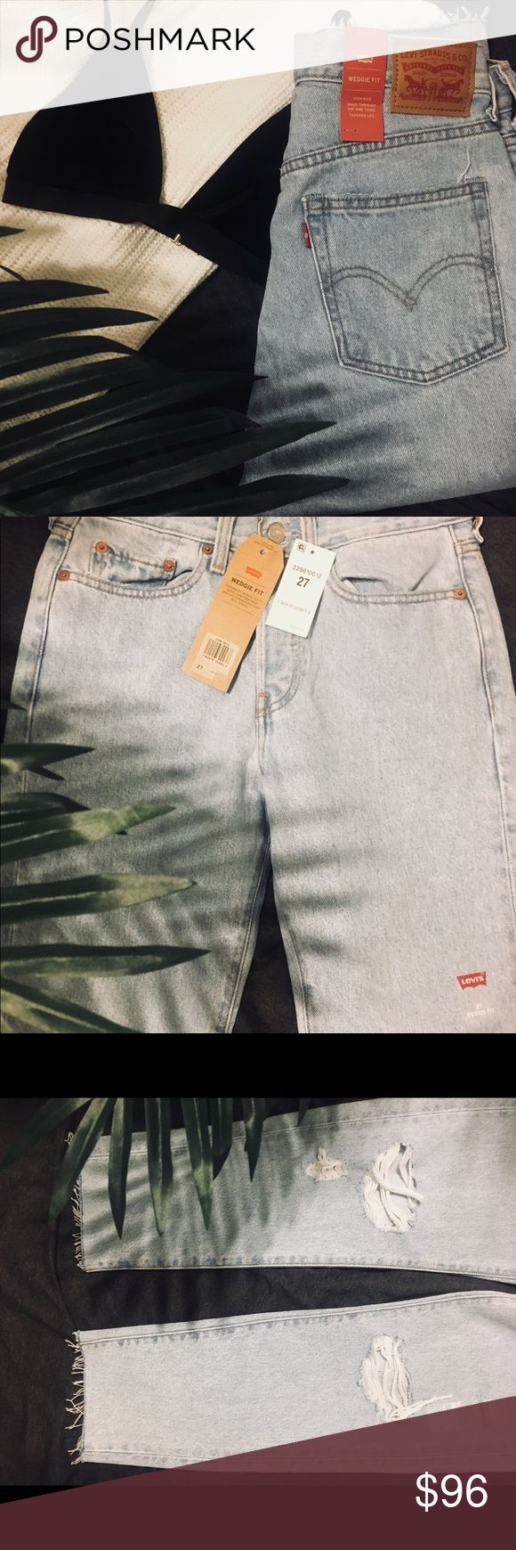 """Women's wedgie fit Levi's-NEVER WORN-size 27 I bought these jeans but they were a size too big on me. They still have the tags and have never been worn. They are a size 27 is the wash """"Kiss Off"""". I am 5'3"""" and they are a perfect length and 100% recommend them as they are very comfortable. The wedgie jeans look exactly like the vintage 501 Levi's you see everywhere on Instagram. If you would like specific measurements of them please message me. The shipping price is cheaper on Poshmark than…"""