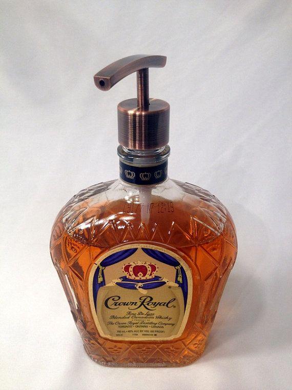 Soap Dispenser - Repurposed Liquor Bottle - Recycled Crown Royal Bottle - Upcycled Liquor Bottle - Lotion Dispener - Home Decor - Under 25