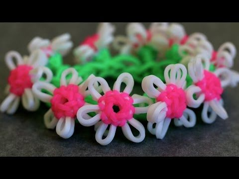 Rainbow Loom - DAISY CHAIN Bracelet. ADVANCED. Designed and loomed by YarnJourney. Click photo for YouTube tutorial. 08/20/14.
