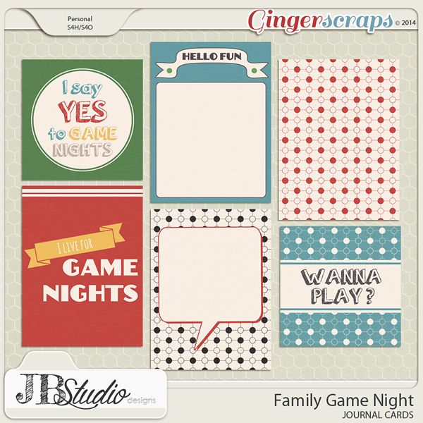 Free Family Game Night Journal Cards from Just Because Studio {GingerScraps DSD 2014 Facebook Hop}