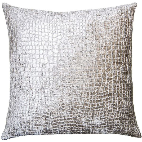Square Feathers Brilliante Silver Croco Throw Pillow ($213) via Polyvore featuring home, home decor, throw pillows, silver home decor, contemporary throw pillows, contemporary home decor, silver home accessories and silver accent pillows