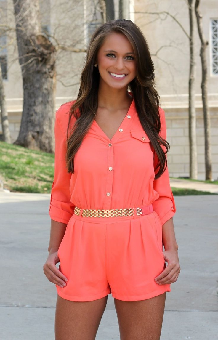 The Pink Lily Boutique - Must Be Yours Romper Orange, $39.00 (http://thepinklilyboutique.com/must-be-yours-romper-orange/)
