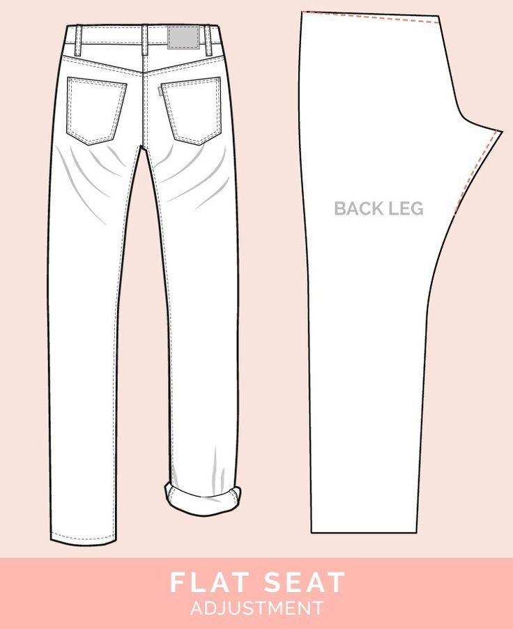 Flat Butt Adjustment // 12 common jeans and pants adjustments // Closet Case Files  Deze en nog veel andere aanpassingen voor het maken van een broek op deze site