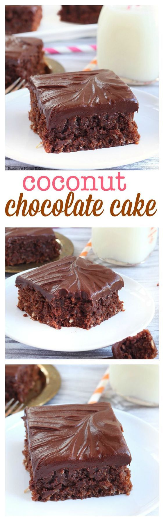 Rich as a brownie but with a cake texture, this double chocolate coconut dessert is bursting with coconut flavor from both the coconut extract and coconut flakes. Top with toasted coconut flakes for a fancy look.