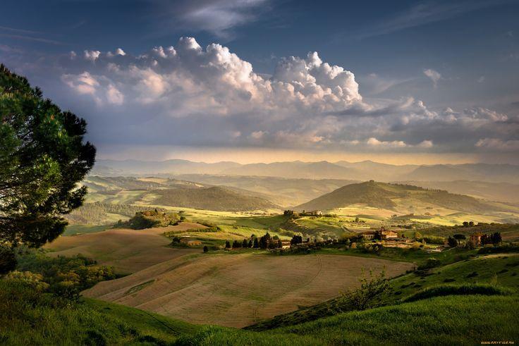природа, поля, деревенский, пейзаж, вечер, тоскана, италия