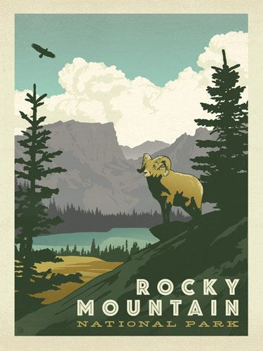 Rocky Mountain National Park - Anderson Design Group has created an award-winning series of classic travel posters that celebrates the history and charm of America's greatest cities and national parks. Founder Joel Anderson directs a team of talented Nashville-based artists to keep the collection growing. This print displays the rugged majesty of Rocky Mountain National Park.