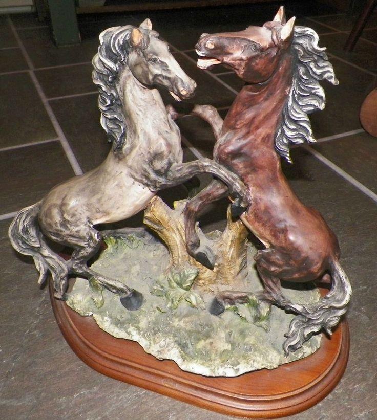 Dear Sculture Artistiche Gorgeous Double Horse Statue on Base Sculpture Italy