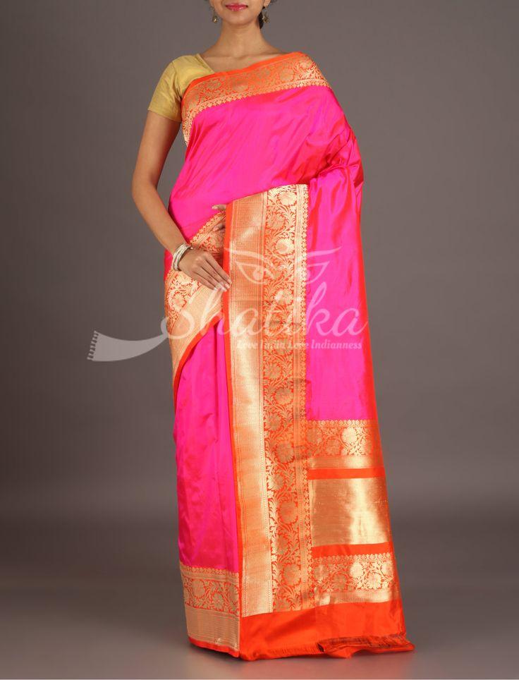 Ruhi Pink And Orange Bel Border Pure Banarasi Katan Silk Saree