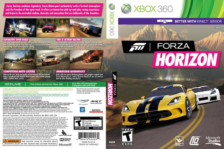 Front is simple two nice sports cars on the open road, the back shows more into the game along with more cars and more events being show.