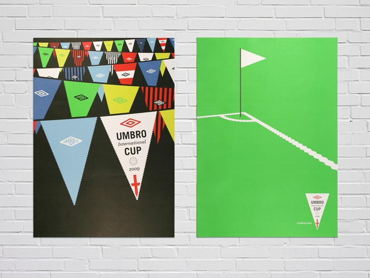UMBRO CUP  Using a traditional football pennant as inspiration, Love Creative created an iconic identity and festival atmosphere for Umbro's International Football Cup.
