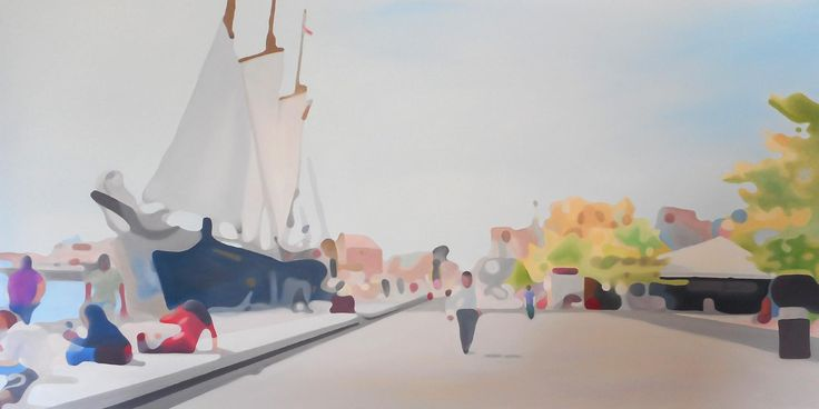 LAST DAY OF SUMMER, HARBOURFRONT OIL ON CANVAS 30x60 in.