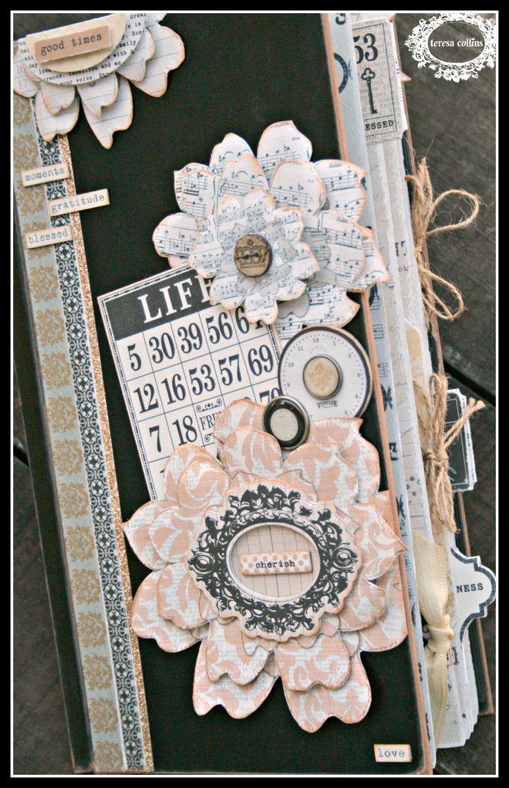 Scrapbook ideas mini books - Teresa Collins Design Team Vintage Finds Large Ish Mini Book By Cheri Piles