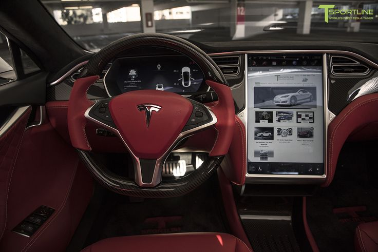 Tesla model s bently hot spur red leather interior with for Interior tesla model s