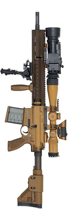 """HK G28 designated marksman / sniper rifle in """"standard"""" configuration with optional otoelectronic night vision adapter."""