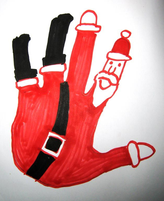 Santa handprint~Santa falling down the chimney drawing! ~I saw this and thought it would be a great classroom project...except for the fact that I don't have a classroom or a little one to craft with... maybe someone I know can use it next year!!