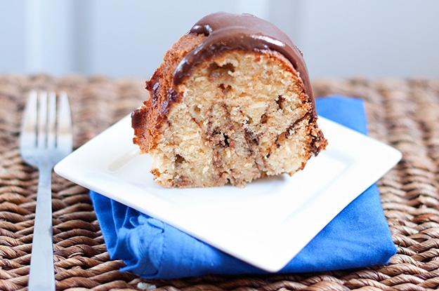 Peanut Butter & Banana Pound Cake with Nutella Glaze
