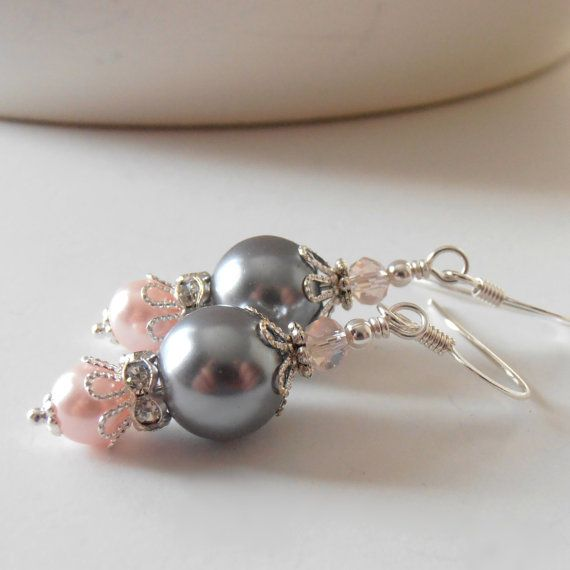 Pink and Gray Pearl Earrings Bridesmaid Jewelry Beaded Dangles Grey and Pink Wedding Jewelry Bridesmaids Gifts