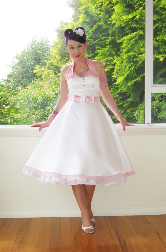 1950 S Quot Alice Quot White Wedding Dress With Pink Trimmed