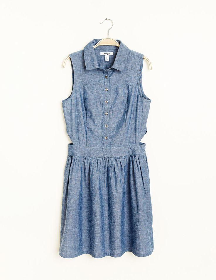 Robe col chemise bleu jean - Jennyfer e-shop
