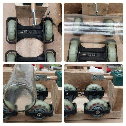Con unas ruedas de unos patines que no uses puedes hacer un cortabotellas rotatorio.  PaletTown Handmade