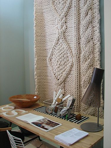 The chunky knit! But for my couch or bed, not the wall :) desk by Sandy-S, via Flickr