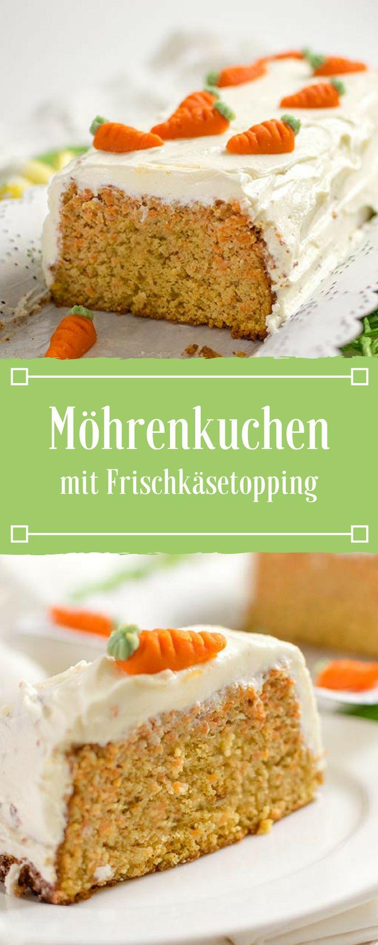 Lecker saftiger Möhrenkuchen mit Frischkäsetopping. Der Karottenkuchen wird in einer Kastenform gebacken.