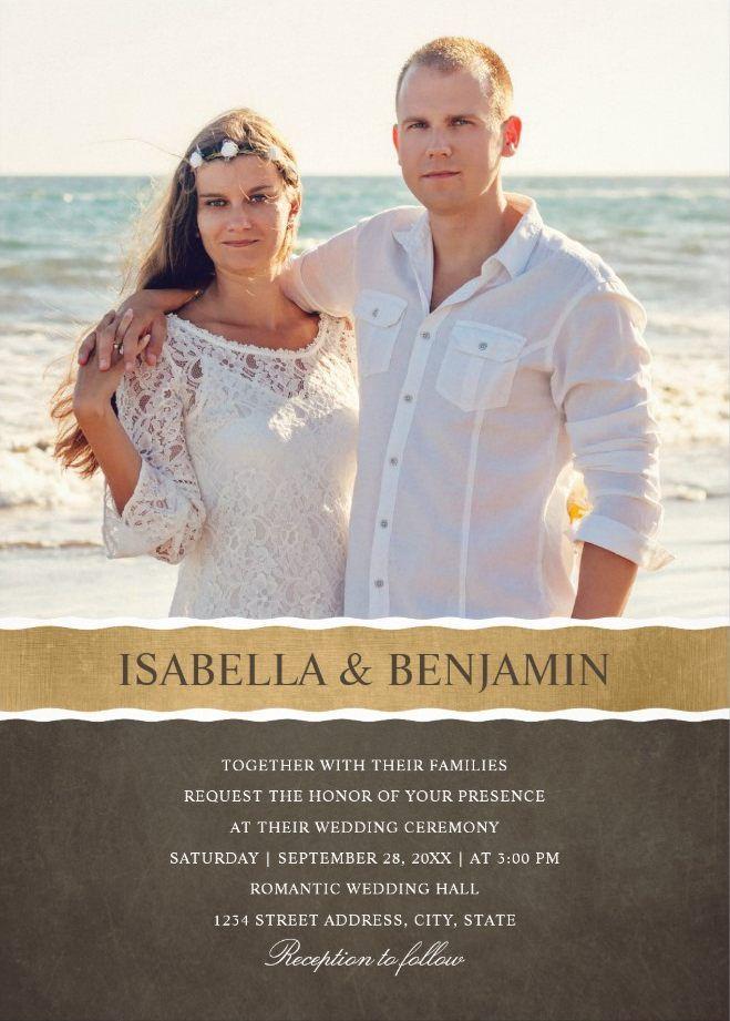 Photo Wedding Invitations - Add Your Picture Cards. Creative photo background. Elegant modern design. Great for any wedding celebration! #weddinginvitations